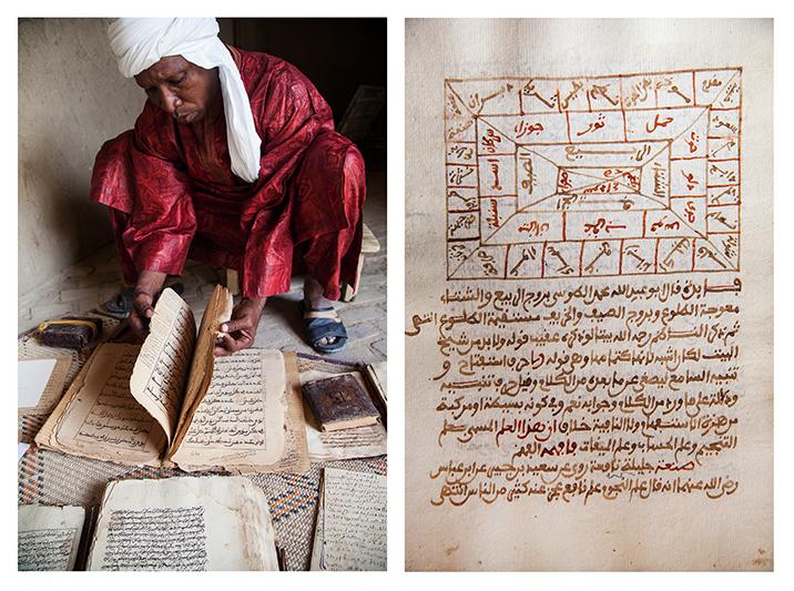 """""""Nous sommes la 5e ou 6e génération à les avoir. C'est le seul bien dont nous avons hérité et c'est très important de les garder. On entend dire que les Africains n'ont pas d'Histoire, mais ces manuscrits montrent le contraire, avec des écrits qui sont là depuis des siècles et des siècles."""" - Abdulwahid Abderahim Haidara, fondateur d'une bibliothèque privée actuellement en rénovation à Tombouctou. Page de droite : extrait d'un manuscrit dédié à l'astronomie."""