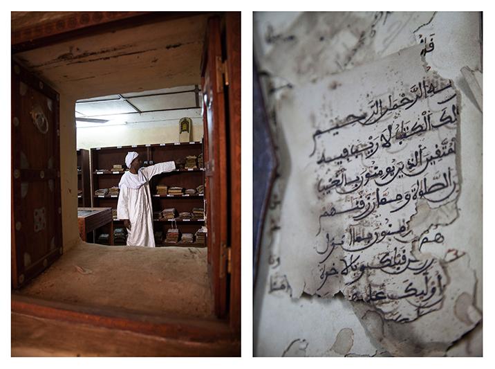 """""""Nous sommes la seule bibliothèque qui a réouvert, ici à Tombouctou, en janvier 2014. Nous sommes très fiers de ce patrimoine écrit. Lors de la crise, la bibliothèque était fermée et les manuscrits éparpillés, cachés jalousement quelque part chez chaque membre de la famille. Aujourd'hui, je veux collaborer avec d'autres pour partager ce savoir avec le monde. Il faut que les autres bibliothèques de la ville rouvrent aussi et puissent se remettre au travail."""" - Mohamed El Moktar Cisse, fils de l'imam de la mosque de Sankoré, directeur de la bibliothèque Al Aqib. Les techniques de conservations ne permettent pas toujours de préserver les textes ancestraux, comme celui-ci qui traite de théologie."""