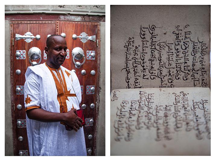 """""""Nous avons pris des sacs de voyage et nous avons cachés les manuscrits dedans. On les mettait au fond et au-dessus, on mettait des boubous, parce qu'il y avait un contrôle à la sortie de la ville. J'ai un manuscrit qui a été écrit par un de mes grands-pères sur l'Histoire de notre famille, et celui-là je ne voulais pas l'envoyer à Bamako. Il fallait que je le garde près de moi. Quand on a appris qu'ils allaient rentrer maison par maison, je me suis dit celui-là, je vais le garder sur moi. Même s'ils fouillent ma maison, ils ne le trouveront pas."""" - Abdulhamin Kunta, fondateur d'une bibliothèque en rénovation. La plupart de ses 9 000 manuscrits sont à Bamako, exfiltrés lors de l'occupation par un réseau crée par l'association SAVAMA."""