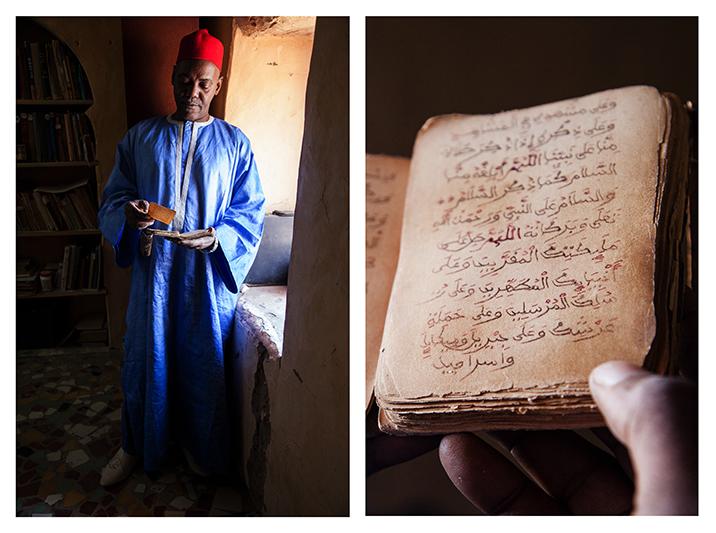 """""""Ces manuscrits traitent du Coran, de sciences coraniques, mais aussi de médecine, d'Histoire, d'arithmétique, de géographie, bref de tous les champs du savoir. Il est temps qu'on commence à les exploiter. Il y a beaucoup de domaines où les manuscrits pourraient apporter leurs contributions. C'est pour nous l'occasion de réécrire cette Histoire de l'Afrique, qui a été écrite par des étrangers. Si on arrive à réécrire cette histoire, on a des chances de redresser beaucoup de choses."""" - Sane Chirfi Alpha, détenteur de 3 000 manuscrits. Membre de l'association SAVAMA, et de la commission de réhabilitation des bibliothèques de Tombouctou."""