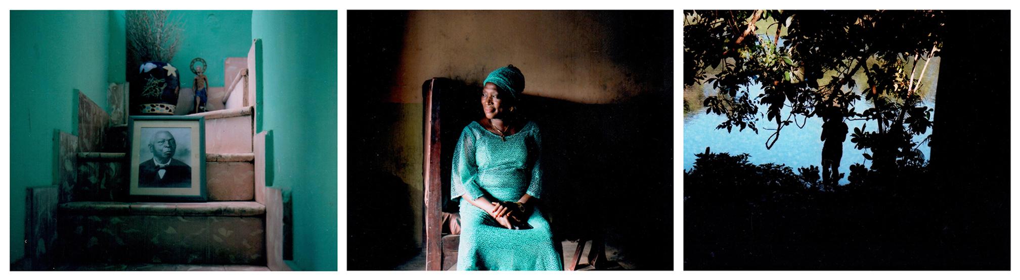 Cette photo d'archive de Remigio Herrera siège au domicile du conservateur du musée de Regla, Juan Lozano Gomes. Herrera, un esclave libéré, fut un pionnier dans la diffusion de la religion Ifa à Cuba. A leur arrivée, les Africains mis en esclavage devaient prendre le nom de leur 'propriétaire'. Ils étaient aussi tenus d'oublier leur Dieu et leurs divinités et de pratiquer le catholicisme. La Havane, Cuba, avril 2019. © Laeïla Adjovi // « Omi, soore fun mi », est une prière à l'eau qui accompagne Sidikat Lawal dans tout ce qu'elle fait. Les langues Yoruba et Fon sont encore aujourd'hui présentes à Cuba, dans de nombreux rites religieux d'ascendance africaine. Abeokuta, Nigéria, juillet 2019© Laeïla Adjovi // Une adepte de Yemaya fait une prière à l'eau près d'une rivière qui traverse la capitale cubaine. La Havane, Cuba, avril 2019. © Laeïla Adjovi
