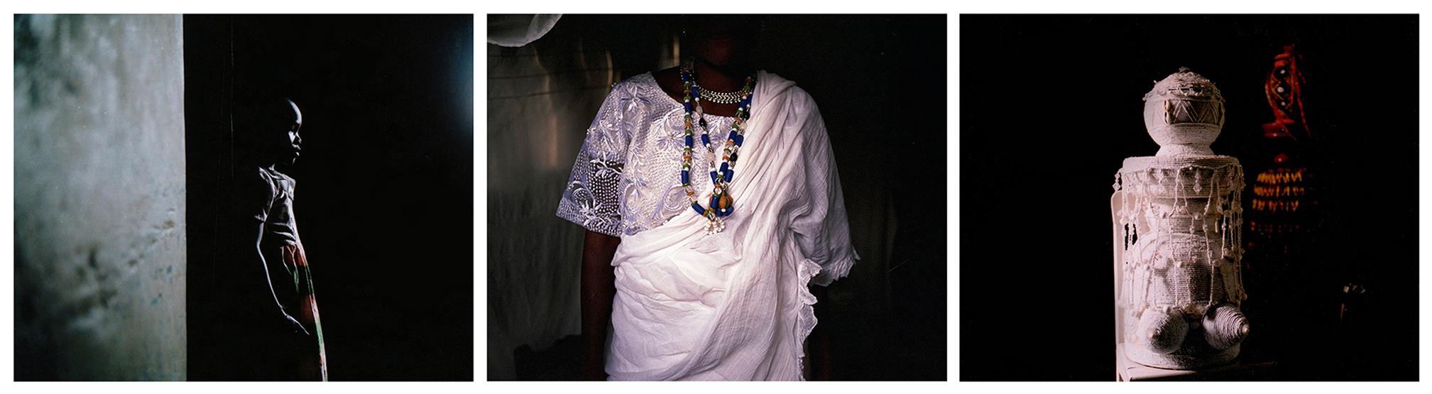 """Esther Oladele, 10 ans, est initiée à l'orisha appelé Obatala. Dans la mythologie yoruba, Obatala, divinité de la sagesse et de la pureté, est marié à Yemoja. Mais ce n'est là que l'un des multiples 'chemins' de Yemoja. Les Yoruba (et les Fon) croient en la réincarnation. Ainsi, tout comme les hommes, les orishas auraient eu plusieurs vies, plusieurs """"chemins"""" dont les enseignements sont relatés dans un immense corpus de données scientifiques, botaniques, sociologiques et mythologiques appelé Ifa. Ifa est présent das toute l'Afrique de l'Ouest et dans les Amériques. Ibadan, Nigéria, novembre 2018. © Laeïla Adjovi // Les perles jouent un grand rôle dans la religion des orishas du Nigéria, le vodun béninois, et aussi dans les rites afro-Cubains. Ici, Denandi Yehouessi, prêtresse de Mamiwata porte ses perles avant un rituel à la plage. Ouidah, Bénin, janvier 2019. © Laeïla Adjovi // Une grande tradition d'artisanat de perles a d'ailleurs traversé l'Atlantique. Ici, calebasse et mamelles proéminentes perlées de blanc constituent un autel pour Obatala à Cuba. Regla, Cuba, avril 2019 © Laeïla Adjovi"""